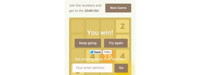 2048 trucchi: le tre strategie per vincere al gioco, oltre l'angolo