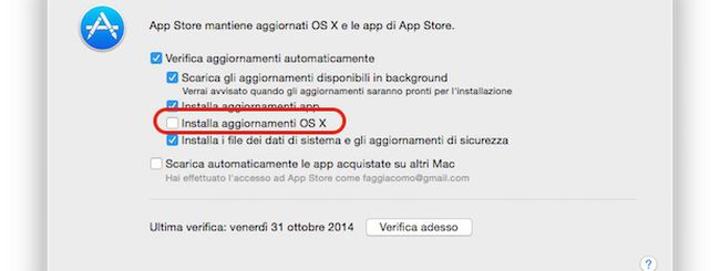 OS X Yosemite, installare automaticamente gli aggiornamenti di sistema