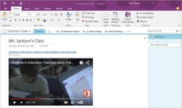 Video embedded in OneNote 2016