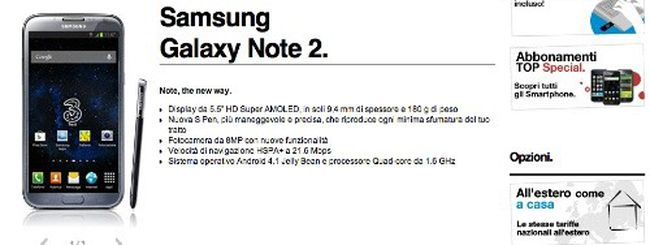Samsung Galaxy Note 2: l'offerta abbonamento di 3 Italia