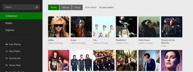 Windows 8.1 app: Xbox Music