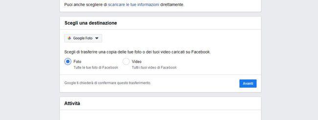 Facebook: trasferire foto e video su Google Foto