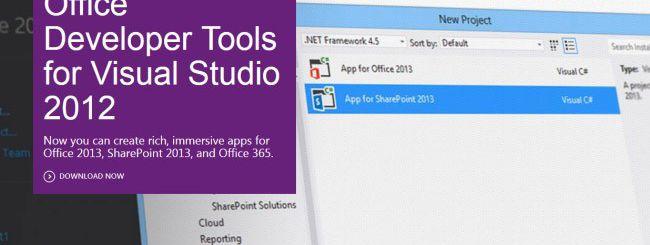 Office 2013, tool di sviluppo per Visual Studio 2012