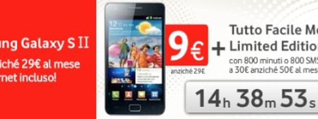 Vodafone: Samsung Galaxy S2 a 9€ mese con Tutto Facile Medium Limited Edition a 30€