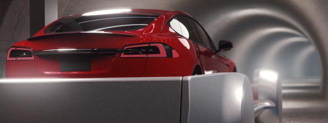 Una Tesla Model S nel tunnel della Boring Company