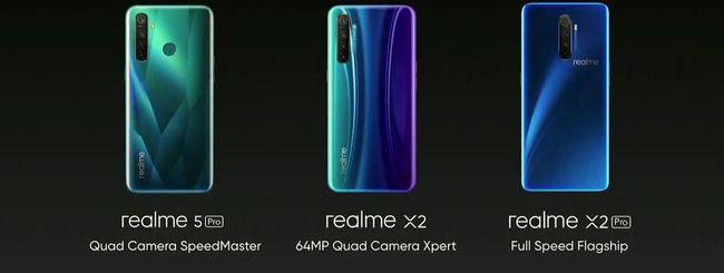 Realme X2, X2 Pro e 5 Pro arrivano in Italia
