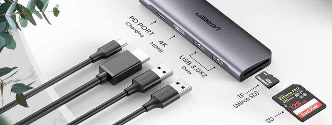Hub USB-C Ugreen 100W: 6-in-1 in alluminio a 25,99€