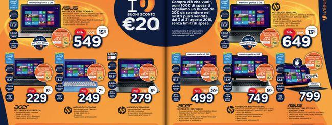 Unieuro: buono da 20 euro ogni 100 euro spesi