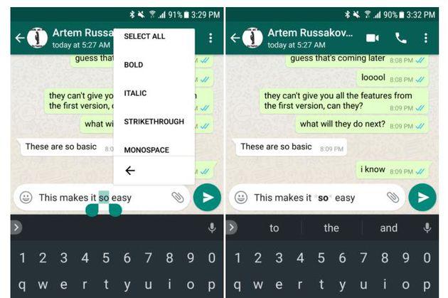 WhatsApp - formattazione testo