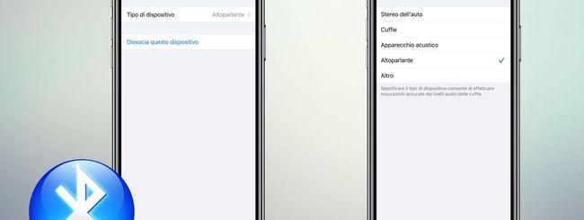 iPhone, assegnare nome e tipologia ai Dispositivi Bluetooth