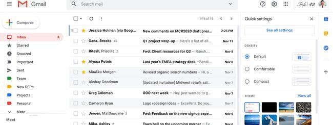 Gmail web: arriva il menu rapido delle impostazioni