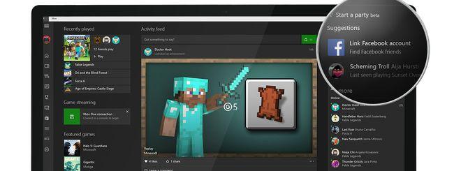 Xbox per Windows 10 trova gli amici su Facebook
