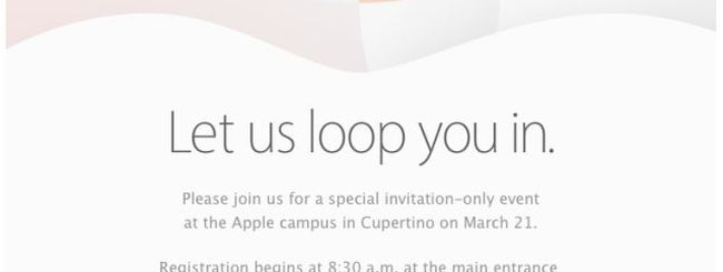 """Loop you in"": l'evento Apple di iPhone SE confermato per il 21 marzo"