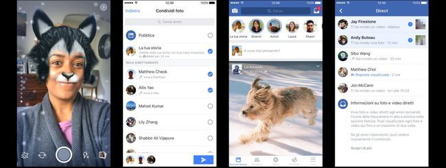 Facebook Camera: effetti, Direct e Stories
