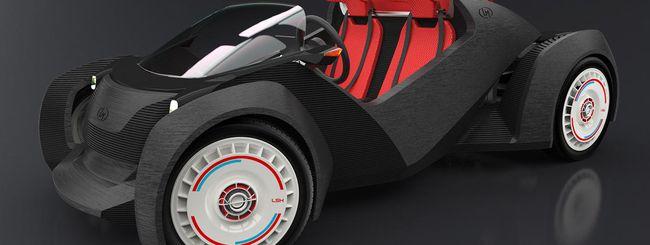 Un'auto elettrica costruita con la stampante 3D