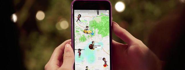 Snapchat mostra gli amici sulla mappa