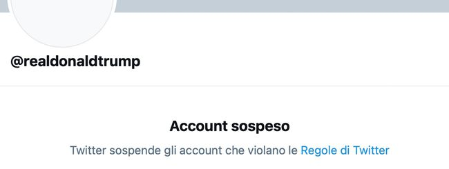 Twitter sospende definitivamente l'account di Trump