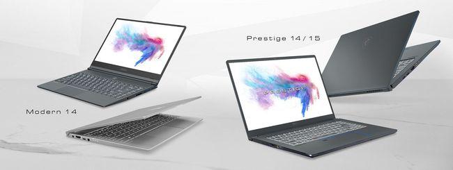 MSI Prestige e Modern, portatili per creativi