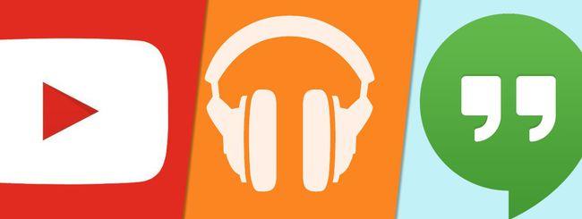 Google aggiorna YouTube, Play Music e Hangouts