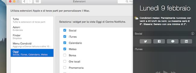 OS X Yosemite: Nascondere (o mostrare) i Widget nel Centro Notifiche