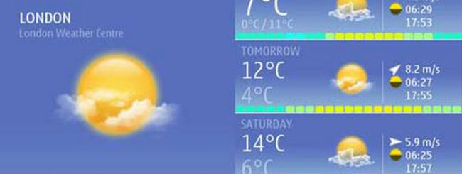 Nokia Weather Widget, previsioni meteo su Nokia Belle