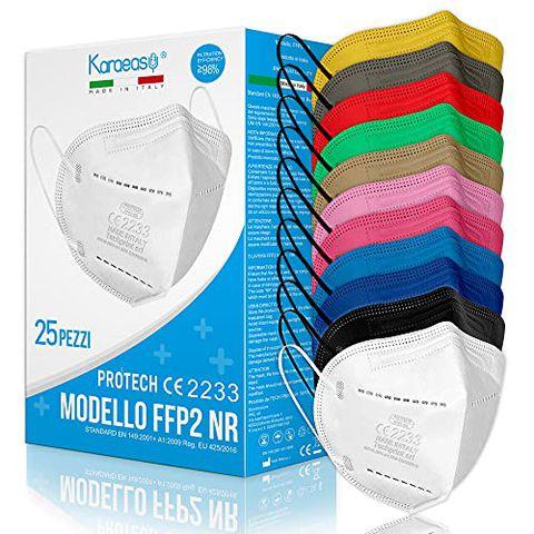 25 Mascherine FFP2 Colorate Certificate CE Made In Italy