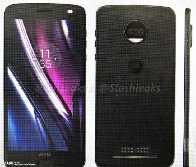 Moto Z2 Force press render