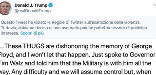 Trump tweet violenza