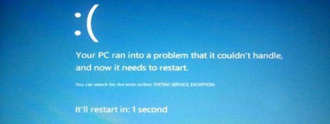 Windows 8: la Blue Screen Of Death ha una faccina triste
