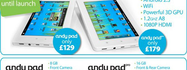 Andy Pad e Andy Pad Pro, tablet Android economici