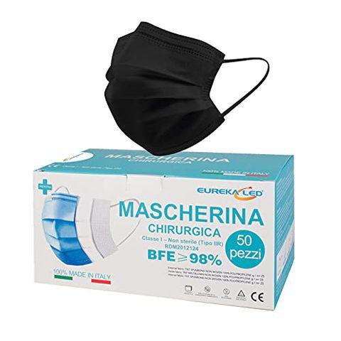 50 Mascherine chirurgiche Nere - Made in Italy