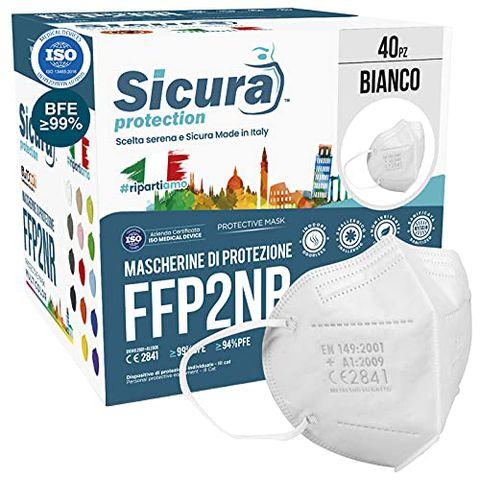 40 Mascherine FFP2 Certificate CE Made in Italy Bianche