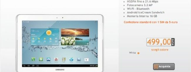 Samsung Galaxy Tab 2 10.1 in offerta da Wind a 499 euro