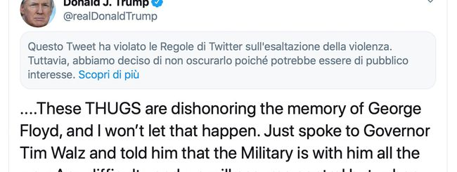 Twitter limita un altro tweet di Donald Trump