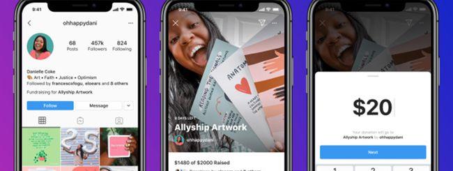 Instagram testa le raccolte fondi personali