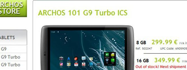 Archos G9 Turbo ICS, nuovi tablet Android 4.0