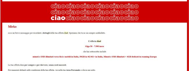 Iliad: l'email che sembra phishing ma non lo è