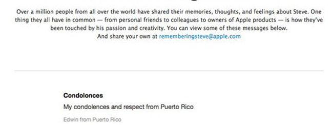 Steve Jobs, i messaggi degli utenti sul sito Apple