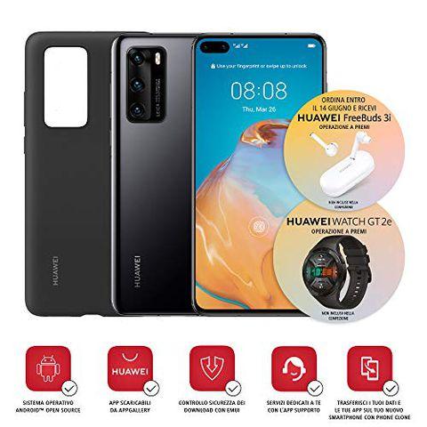 Huawei P40 con Cover (Nero)