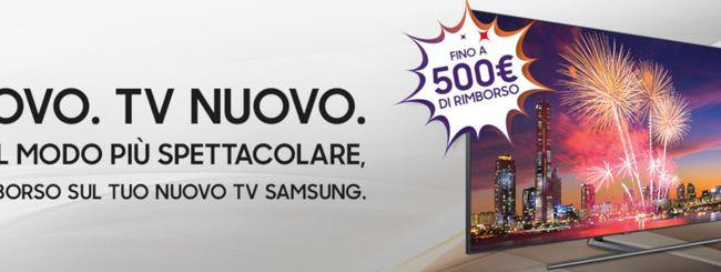 Samsung, rimborso sino a 500 euro sui nuovi TV