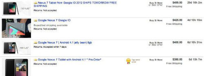 Nexus 7 in vendita su eBay