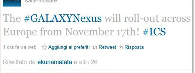 Samsung Galaxy Nexus in Europa il 17 novembre