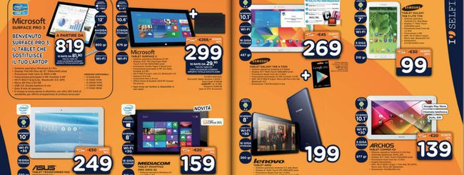 Volantino Unieuro, Surface 2 con Type Cover a 299€
