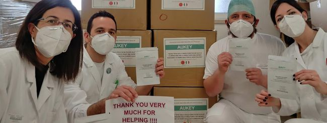 Aukey regala 100.000 mascherine all'Italia