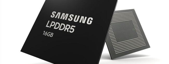 DRAM LPDDR5 da 16 GB, Samsung avvia la produzione