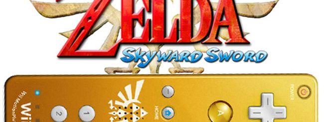 The Legend of Zelda: Skyward Sword in bundle con un wiimote dorato