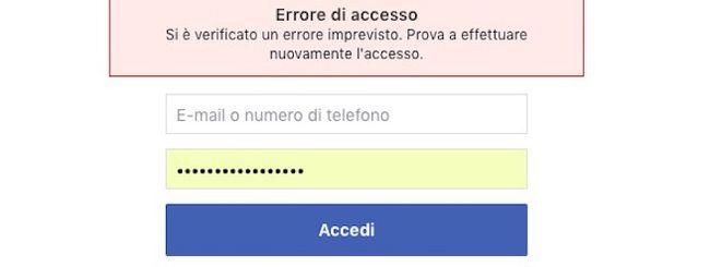 Facebook down oggi, 5 dicembre 2018: Errore di accesso imprevisto