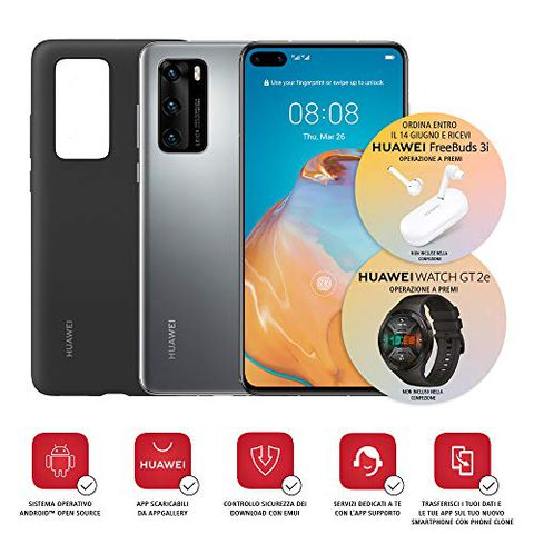 Huawei P40 con Cover (Argento)
