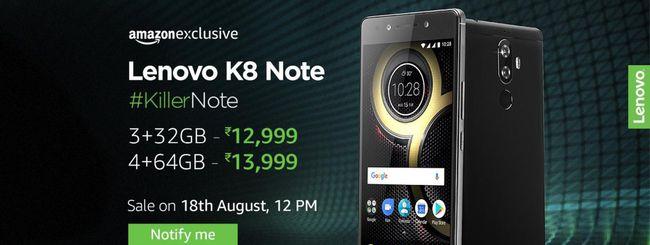 Lenovo K8 Note, primo smartphone con Android stock