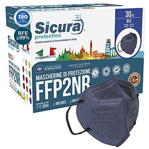 30 Mascherine FFP2 Certificate CE BLU con Elastici Neri SICURA